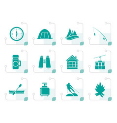 Stylized travel tourism vacation and mountain vector