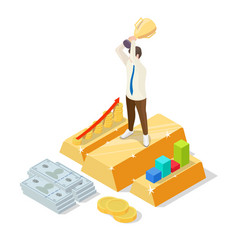 successful businessman on gold ingot with trophy vector image