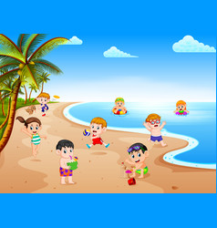summer view with a grup of children playing vector image