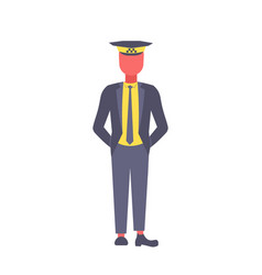 taxi driver in uniform and cap male chauffeur vector image