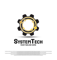 Technology system logo design with concept vector