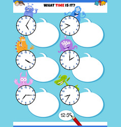 Telling time educational task with fantasy vector