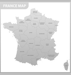 the detailed map of the france with regions or vector image