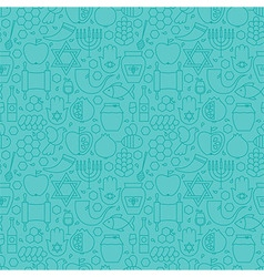 Thin Line Jewish New Year Holiday Seamless Blue vector