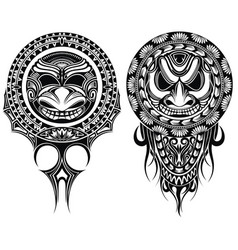 tribal masks ornamental elemetns vector image