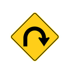 Usa traffic road signs hairpin curve vector