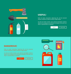 Useful and dangerous fire-related objects posters vector