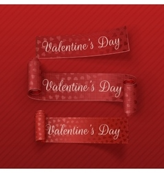Valentines Day scroll textile Ribbons Set vector image