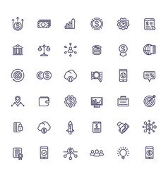 Venture capital investments start-up line icons vector
