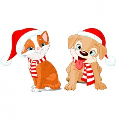 Very merry puppy and kitten vector