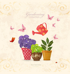 Vintage card with collection of delicious herbs vector