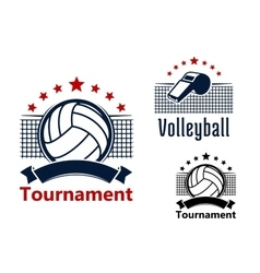 Volleyball emblems with balls whistle and nets vector