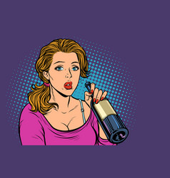woman drinking wine from a bottle loneliness and vector image