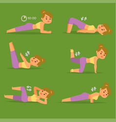 Woman home workout exercising at home vector