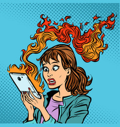 Woman with a burning phone hot news ignition of vector