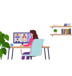 woman works remotely home office character sits vector image