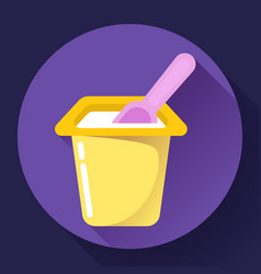 yogurt cup with a spoon flat icon vector image