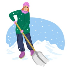 Young cheerful woman cleans the road from snow vector