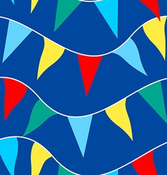 Colored flags on rope in a seamless pattern vector image