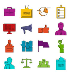 election voting icons doodle set vector image