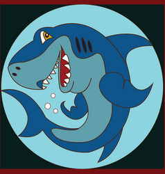 funny cartoon shark on the background vector image vector image