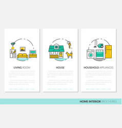 house interior business brochure linear vector image
