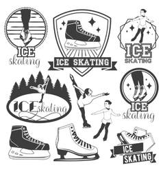 set of ice skating emblems badges logos vector image