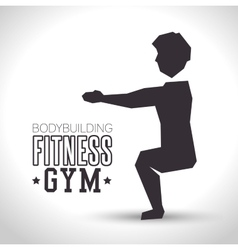 silhouette man exercise squats bodybuilding vector image