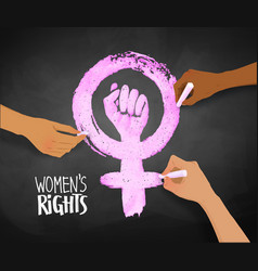 womens hands drawing feminism protest symbol vector image