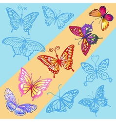 A ray of sun in the blue sky colored butterfly vector image vector image