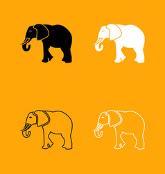elephant black and white set icon vector image vector image