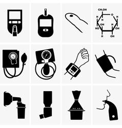 Glucometer tonometer inhaler vector image