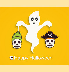 halloween yellow background with scary ghost vector image vector image
