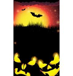 Night pumpkin monsters with glowing eyes vector image
