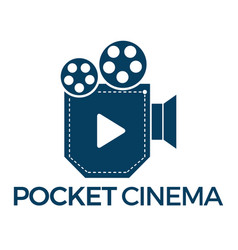 pocket cinema logo design vector image vector image