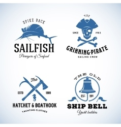 Vintage Nautical Sea Logos or Labels with vector image vector image