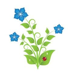 blue flowers with leaves and swirls vector image vector image