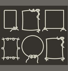 decorative rope frames on black background vector image