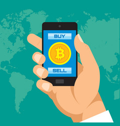 digital currency bitcoin in smartphone application vector image vector image