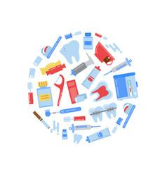 flat style teeth hygiene icons circle vector image