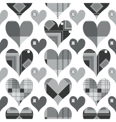 Hearts seamless pattern black and white with grey vector image