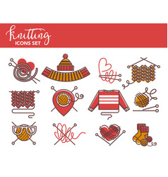knitting logo templates of knitted clothing or vector image