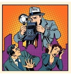 Media paparazzi terrorizing people vector