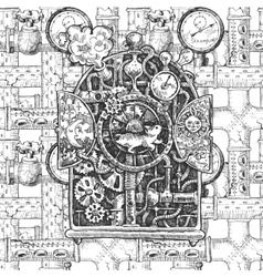 steampunk mechanism sketch vector image vector image