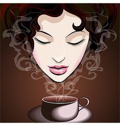 Woman enjoying coffee vector image vector image