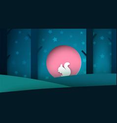 cartoon paper landscape squirrel vector image vector image
