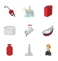 Oil icons set cartoon style vector image vector image