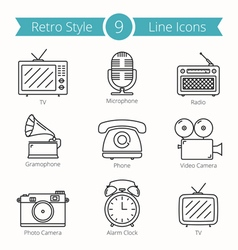 Retro Style Objects Line Icons vector image