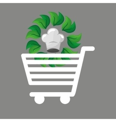 shopping cart food organic vector image