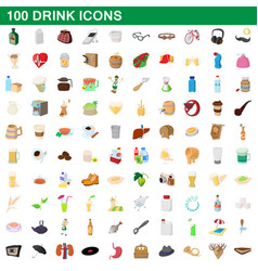 100 drink icons set cartoon style vector